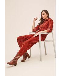 Anthropologie Meghann Cord Boilersuit - Red