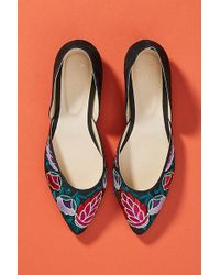 Anthropologie - Embroidered Dorsay Flats - Lyst