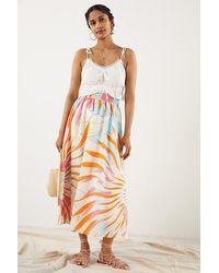 Maeve Floral Burst Maxi Skirt - Orange