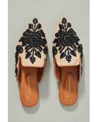 Anthropologie Therese Beaded Mules - Black
