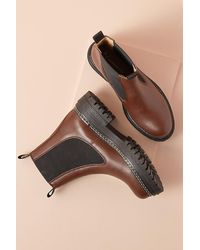 Anthropologie Chunky Stitch Chelsea Boots - Brown