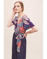 Anthropologie Carolla Printed-wrap Jumpsuit - Blue