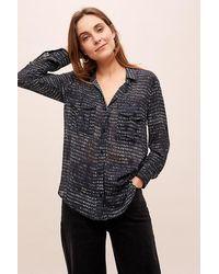 Cloth & Stone Raina Dot-print Utility Shirt - Blue