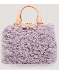 Brother Vellies Lavender Curly Goat Mini Island Bag - Multicolor