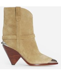 Isabel Marant 'lamsy' Heeled Ankle Boots Beige - Natural