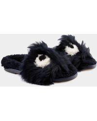 Anya Hindmarch Eyes Shearling Soft Loafer - Blue