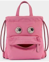 Anya Hindmarch Mini Crystal Eyes Drawstring Backpack - Pink