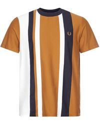Fred Perry T-shirt Striped Piqué - Brown