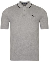 Fred Perry Knitted Polo Shirt - Grey