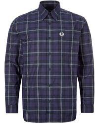 Fred Perry Button Through Tartan Shirt Medieval Blue