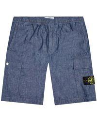 Stone Island Bermuda Shorts Chambray Canvas - Blue