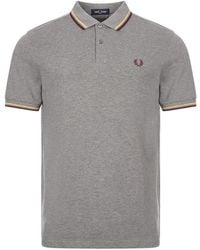 Fred Perry Polo Shirt Twin Tipped - Grey