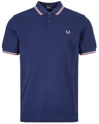 Fred Perry Polo Shirt Twin Tip - Blue