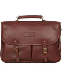 Barbour Leather Briefcase - Brown