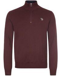 Paul Smith Zip Neck Sweater - Red