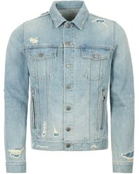 Balmain Distressed Logo Denim Jacket - Blue