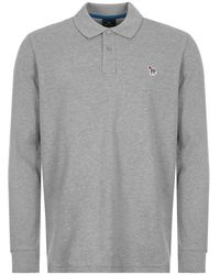 Paul Smith Ps By Long Sleeved Polo T Shirt - Grey