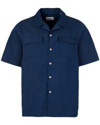 Albam Short Sleeve Shirt – Navy - Blue