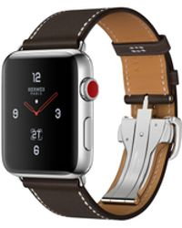 Apple - Watch Hermès Gps + Cellular 42mm Stainless Steel Case Silver With Ébène Barenia Leather Single Tour Deployment Buckle - Lyst