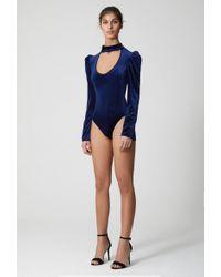 AQ/AQ - Gigi Choker Neck Velvet Bodysuit - Lyst