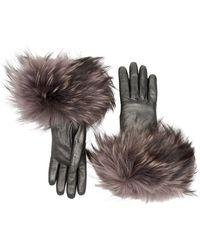 Aquatalia Fur Cuff Glove - Gray