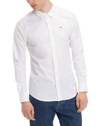 Tommy Hilfiger Original Flag Stretch Long Sleeve Shirt White