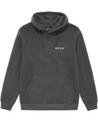 Nicce London Chest Logo Hood - Grey