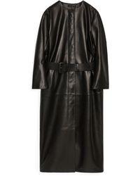 ARKET Belted Leather Coat - Black