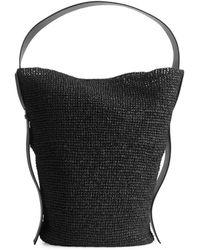ARKET Large Straw Bucket Tote - Black