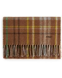 ARKET Checked Wool Scarf - Brown