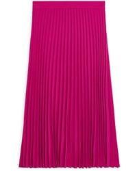 ARKET Pleated Crepe Skirt - Pink