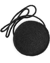 ARKET Round Straw Crossbody Bag - Black
