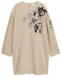 ARKET Printed Sack Dress - Natural