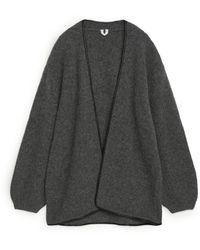 ARKET Leather Trimmed Wool Cardigan - Grey