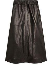 ARKET A-line Leather Skirt - Black