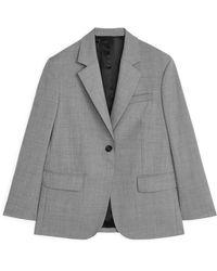 ARKET Oversized-Blazer Aus Wolle Und Hopsack - Grau