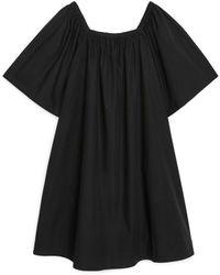 ARKET Square-neck Poplin Dress - Black