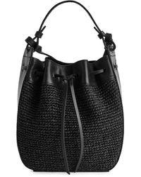 ARKET Leather Trimmed Straw Bag - Black