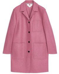 ARKET Jersey Wool Coat - Pink