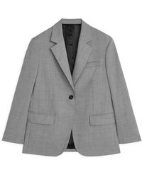 ARKET Oversized Wool Hopsack Blazer - Grey