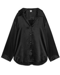 ARKET Silk Pyjama Shirt - Black