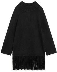 ARKET Fringed Wool Jumper - Black