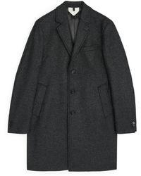 ARKET Melton Wool Topcoat - Grey