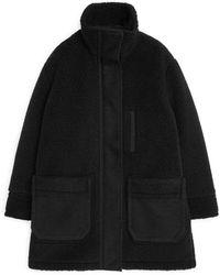 ARKET Pile Moleskin Coat - Black