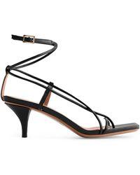 ARKET Mid-heel Leather Strap Sandal - Black