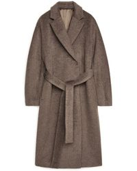 ARKET Belted Alpaca And Wool Coat - Natural