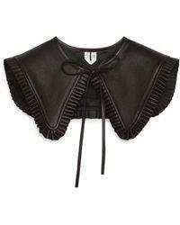 ARKET Pleat-edge Leather Collar - Black