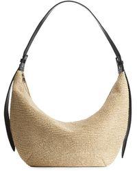 ARKET Leather-trimmed Straw Bag - Natural
