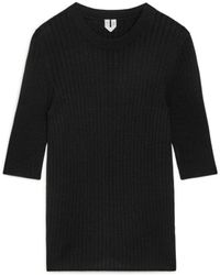 ARKET Cotton-silk Short-sleeved Top - Black