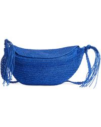 ARKET Straw Crossbody Bag - Blue